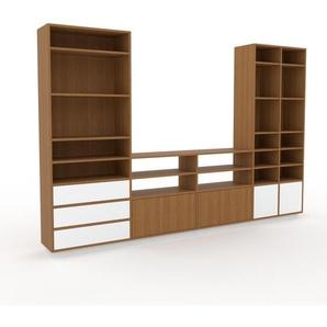 TV-Schrank Eiche - Fernsehschrank: Schubladen in Weiß & Türen in Eiche - 303 x 200 x 35 cm, konfigurierbar