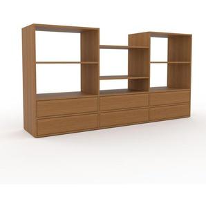 TV-Schrank Eiche - Moderner Fernsehschrank: Schubladen in Eiche - 226 x 118 x 47 cm, konfigurierbar