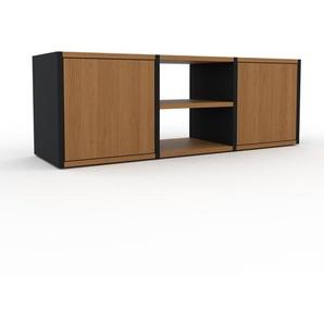 TV-Schrank Schwarz - Moderner Fernsehschrank: Türen in Eiche - 118 x 41 x 35 cm, konfigurierbar