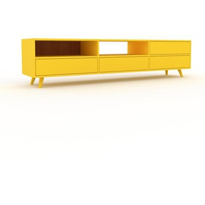 TV-Schrank Gelb - Moderner Fernsehschrank: Schubladen in Gelb - 226 x 53 x 47 cm, konfigurierbar