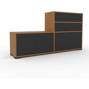 TV-Schrank Eiche - Fernsehschrank: Schubladen in Anthrazit & Türen in Anthrazit - 152 x 81 x 35 cm, konfigurierbar