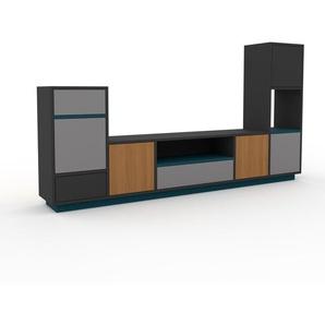TV-Schrank Anthrazit - Fernsehschrank: Schubladen in Grau & Türen in Grau - 231 x 124 x 35 cm, konfigurierbar