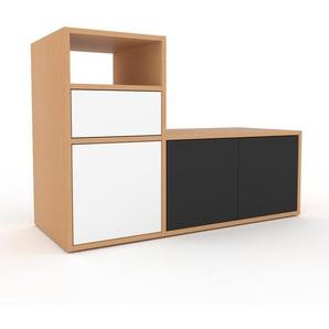 TV-Schrank Buche - Fernsehschrank: Schubladen in Weiß & Türen in Anthrazit - 116 x 80 x 47 cm, konfigurierbar