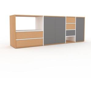 TV-Schrank Weiß - Fernsehschrank: Schubladen in Buche & Türen in Grau - 229 x 80 x 47 cm, konfigurierbar