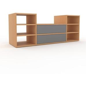 TV-Schrank Buche - Moderner Fernsehschrank: Schubladen in Grau - 154 x 61 x 47 cm, konfigurierbar