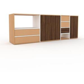 TV-Schrank Weiß - Fernsehschrank: Schubladen in Buche & Türen in Nussbaum - 229 x 80 x 47 cm, konfigurierbar