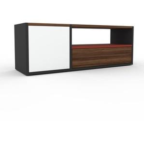 TV-Schrank Anthrazit - Fernsehschrank: Schubladen in Nussbaum & Türen in Weiß - 116 x 41 x 35 cm, konfigurierbar