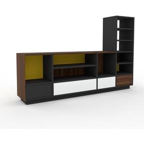 TV-Schrank Anthrazit - Moderner Fernsehschrank: Schubladen in Weiß - 193 x 124 x 35 cm, konfigurierbar