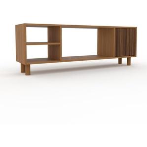 TV-Schrank Eiche - Moderner Fernsehschrank: Türen in Nussbaum - 154 x 53 x 35 cm, konfigurierbar