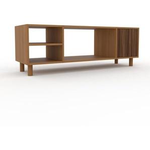 TV-Schrank Eiche - Moderner Fernsehschrank: Türen in Nussbaum - 154 x 53 x 47 cm, konfigurierbar