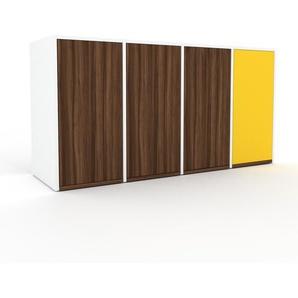 TV-Schrank Weiß - Moderner Fernsehschrank: Türen in Nussbaum - 156 x 80 x 47 cm, konfigurierbar