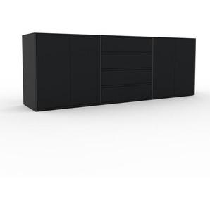 TV-Schrank Anthrazit - Fernsehschrank: Schubladen in Schwarz & Türen in Schwarz - 226 x 80 x 47 cm, konfigurierbar