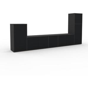 TV-Schrank Anthrazit - Moderner Fernsehschrank: Türen in Schwarz - 267 x 118 x 35 cm, konfigurierbar