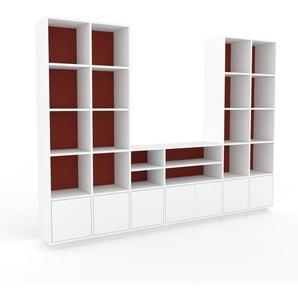 TV-Schrank Weiß - Moderner Fernsehschrank: Türen in Weiß - 270 x 200 x 35 cm, konfigurierbar