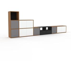 TV-Schrank Eiche - Fernsehschrank: Schubladen in Anthrazit & Türen in Weiß - 344 x 118 x 35 cm, konfigurierbar