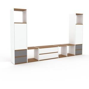 TV-Schrank Weiß - Fernsehschrank: Schubladen in Grau & Türen in Weiß - 270 x 157 x 35 cm, konfigurierbar