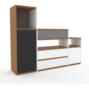 TV-Schrank Weiß - Fernsehschrank: Schubladen in Weiß & Türen in Anthrazit - 154 x 118 x 35 cm, konfigurierbar