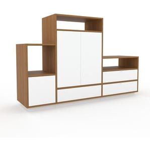 TV-Schrank Eiche - Fernsehschrank: Schubladen in Weiß & Türen in Weiß - 190 x 124 x 47 cm, konfigurierbar