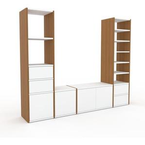 TV-Schrank Eiche - Fernsehschrank: Schubladen in Weiß & Türen in Weiß - 193 x 157 x 35 cm, konfigurierbar