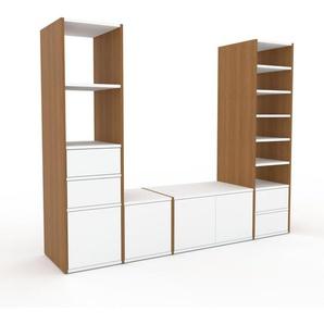 TV-Schrank Eiche - Fernsehschrank: Schubladen in Weiß & Türen in Weiß - 193 x 157 x 47 cm, konfigurierbar