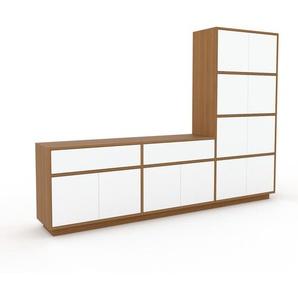 TV-Schrank Eiche - Fernsehschrank: Schubladen in Weiß & Türen in Weiß - 226 x 162 x 35 cm, konfigurierbar