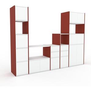 TV-Schrank Rot - Fernsehschrank: Schubladen in Weiß & Türen in Weiß - 267 x 195 x 47 cm, konfigurierbar