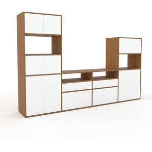 TV-Schrank Eiche - Fernsehschrank: Schubladen in Weiß & Türen in Weiß - 301 x 195 x 47 cm, konfigurierbar