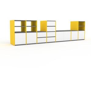 TV-Schrank Gelb - Fernsehschrank: Schubladen in Weiß & Türen in Weiß - 308 x 80 x 47 cm, konfigurierbar