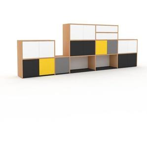 TV-Schrank Buche - Fernsehschrank: Schubladen in Weiß & Türen in Weiß - 339 x 118 x 35 cm, konfigurierbar