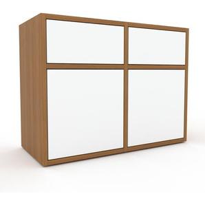 TV-Schrank Eiche - Fernsehschrank: Schubladen in Weiß & Türen in Weiß - 79 x 61 x 35 cm, konfigurierbar