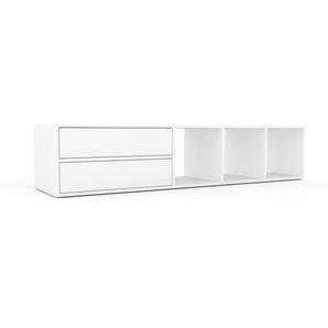 TV-Schrank Weiß - Moderner Fernsehschrank: Schubladen in Weiß - 193 x 41 x 47 cm, konfigurierbar