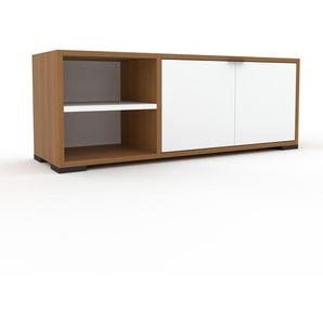 TV-Schrank Eiche - Moderner Fernsehschrank: Türen in Weiß - 116 x 43 x 35 cm, konfigurierbar