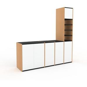 TV-Schrank Buche - Moderner Fernsehschrank: Türen in Weiß - 193 x 195 x 47 cm, konfigurierbar