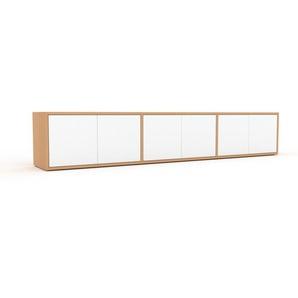 TV-Schrank Buche - Moderner Fernsehschrank: Türen in Weiß - 226 x 41 x 35 cm, konfigurierbar