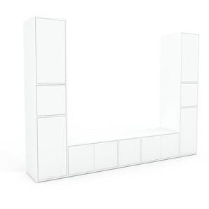 TV-Schrank Weiß - Moderner Fernsehschrank: Türen in Weiß - 267 x 195 x 47 cm, konfigurierbar