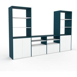 TV-Schrank Blau - Moderner Fernsehschrank: Türen in Weiß - 301 x 195 x 47 cm, konfigurierbar
