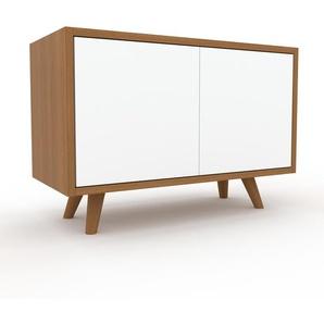 TV-Schrank Eiche - Moderner Fernsehschrank: Türen in Weiß - 77 x 53 x 35 cm, konfigurierbar