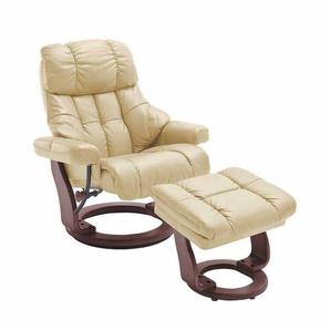 TV Sessel mit Relaxfunktion Creme Wei� Leder (2-teilig)