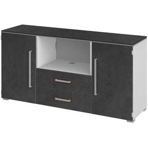 TV Sideboard in Grau Wei� 140 cm breit
