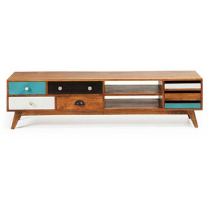TV Tisch in Braun Bunt Mangobaum Massivholz