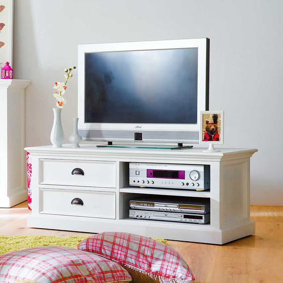 TV Unterschrank in Wei� teilmassiv Landhaus 120 cm