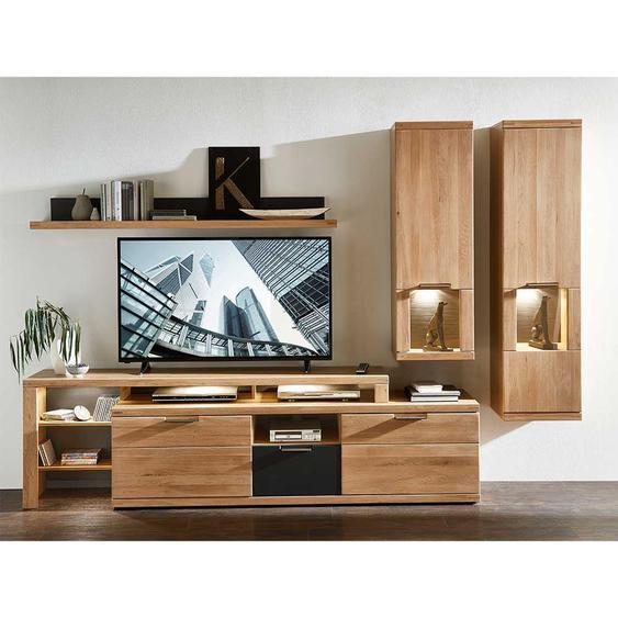 TV Wohnwand in Eiche Bianco LED Beleuchtung (4-teilig)