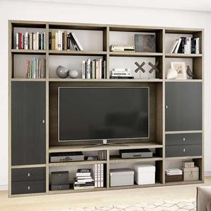TV Wohnwand in Eiche Sonoma und Eiche Schwarz Braun modern