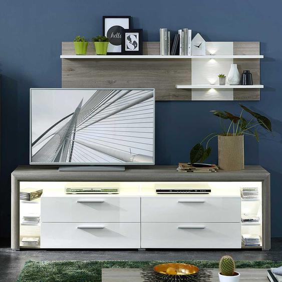 TV Wohnwand in Weiß Hochglanz und Dekor Eiche Grau LED Beleuchtung (2-teilig)