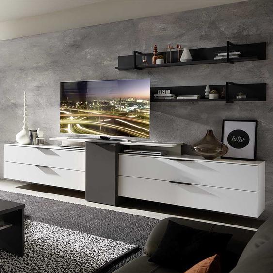 TV Wohnwand in Weiß und Dunkelgrau 320 cm breit (5-teilig)