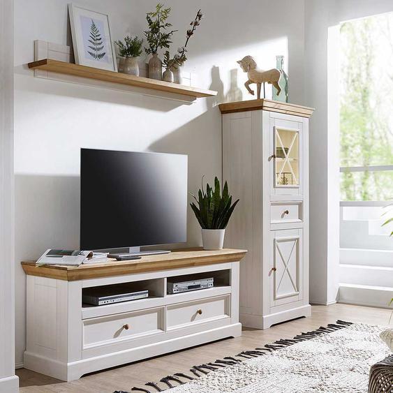 TV Wohnwand in Weiß und Eichefarben Kiefer Massivholz (3-teilig)