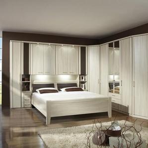 Überbau-Schlafzimmer Edel-Esche NB, 1-trg. Drehtürenschrank, Bettbrücke, Komfortbett 180x200 cm, Eckschrank, 4-trg. Drehtürenschrank, Abschlussschrank