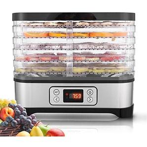 ULTREY Dörrautomat Elektronische mit Elektronischer Temperaturanzeige, 5 Etagen 250W Edelstahl Dehydrator, Temperatur Einstellbar (Schwarz-LCD)