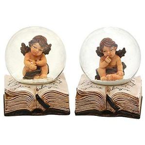 Sigro 2Mini sortiert Poly Snow Globe mit Engel auf Buch, 6,5x 5cm, beige