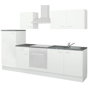 uno Küchenzeile ohne Elektrogeräte  Kiel ¦ weiß ¦ Maße (cm): B: 270